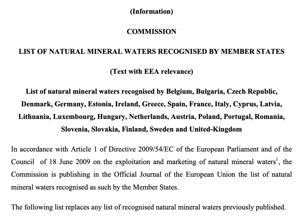 EU-ban elismert ásványvizek